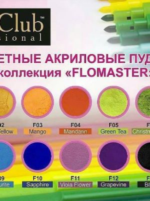 Акриловая система Акриловая пудра Nail Club Flomaster FM-02 Sun Yellow, 6 гр